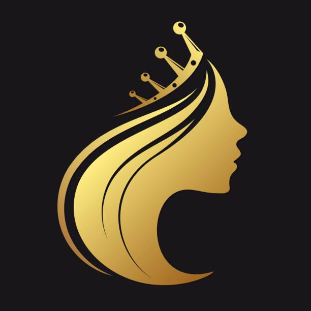 illustrations, cliparts, dessins animés et icônes de profil d'une jeune fille avec une couronne - couronne reine