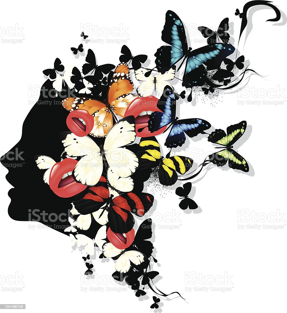 Profile of a girl with butterflies royalty-free stock vector art