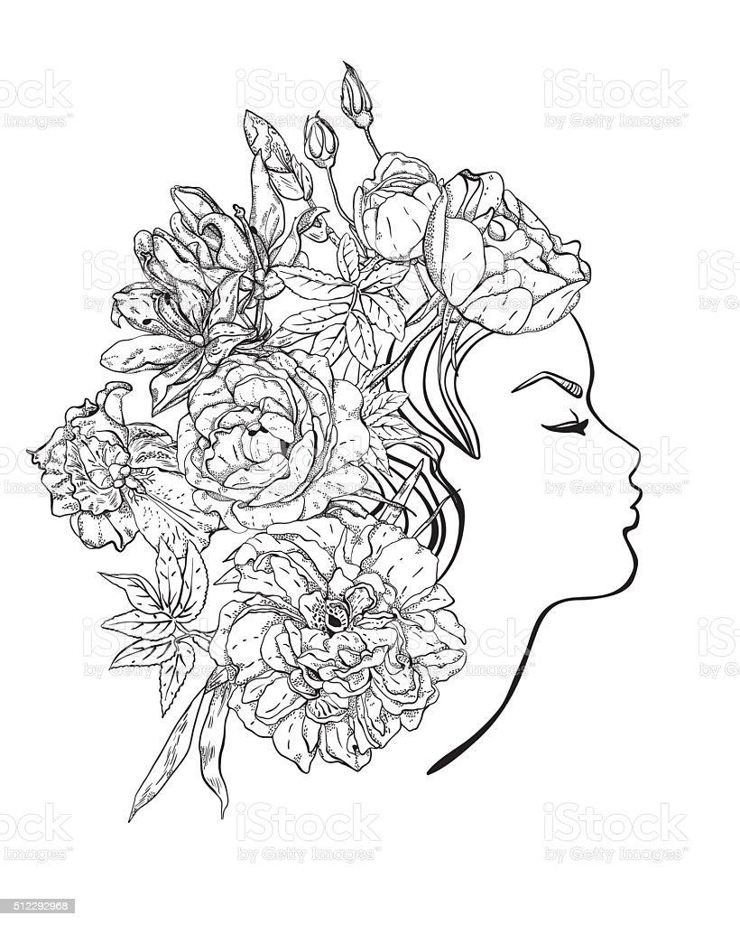 Profil De La Jeune Fille Avec Des Fleurs Dans Les Cheveux Cliparts