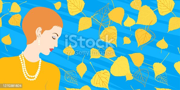 istock Profile of a women on the background of stylized foliage 1270381824