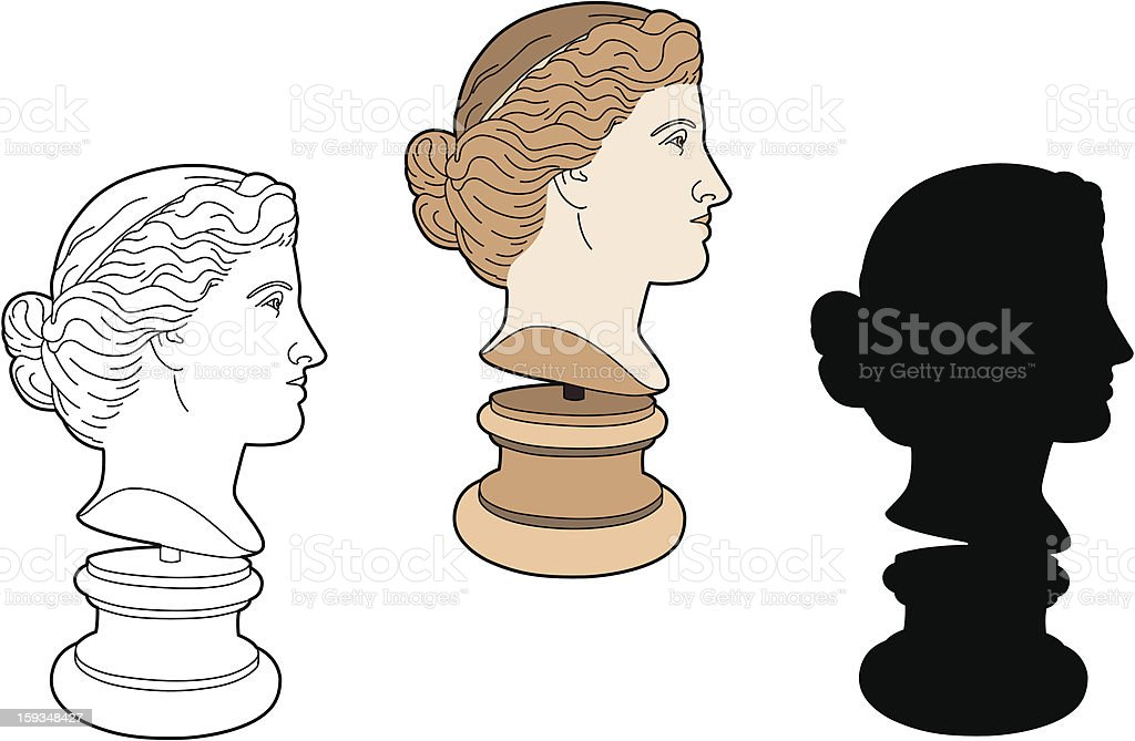 Profile of ancient statue vector art illustration