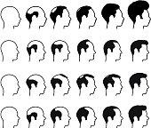 Profile of Balding Process man Faces black & white icons