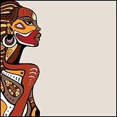 Profile of beautiful African woman. Hand drawn ethnic illustration.