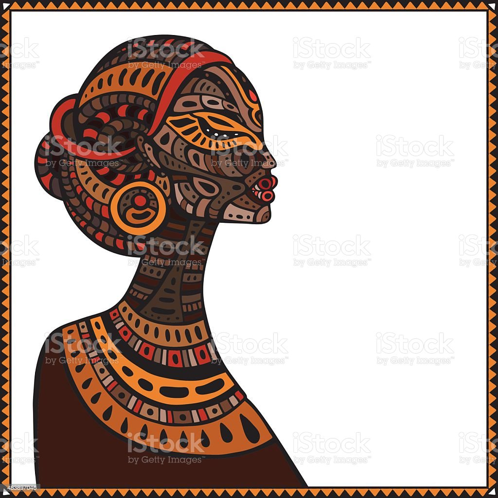 Profile of beautiful African woman vector art illustration