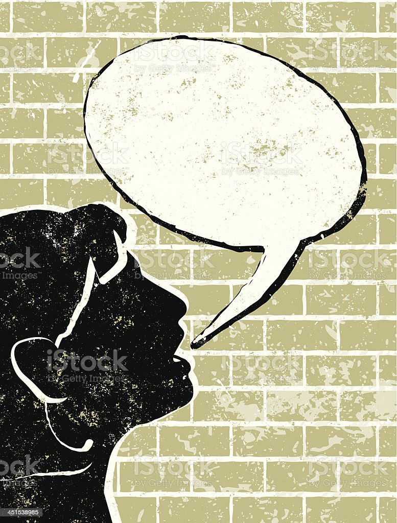 Profile of Business Woman Talking to a Brick Wall royalty-free stock vector art