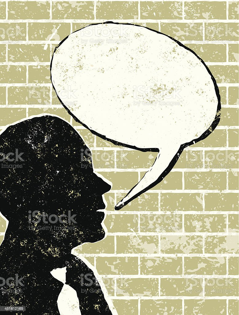 Profile of Businessman Talking to a Brick Wall royalty-free stock vector art