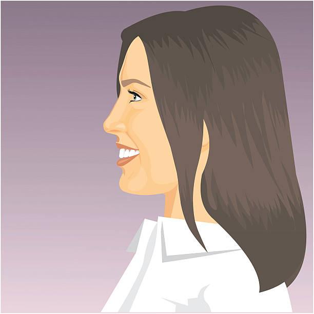 Profile of girl vector art illustration