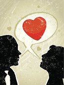 Sweet nothings! A stylized vector cartoon of a business man and woman with a speech bubble and a Heart, reminiscent of an old screen print poster and suggesting communication, talking love, romance, sweet nothings, or gossip. Bubble,man, woman, hearts, paper texture and background are on different layers for easy editing.
