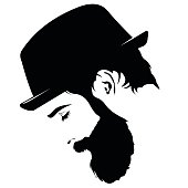 Profile of sad bearded man wearing hat with closed eyes