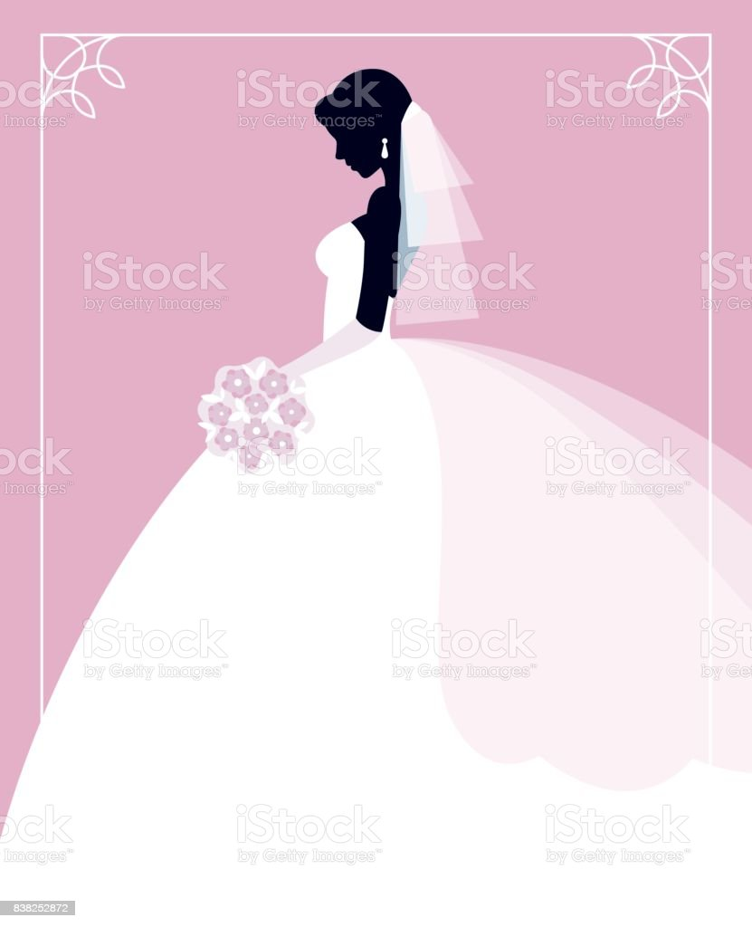 Profile of the bride in a wedding dress with a bouquet of flowers in her hands vector art illustration