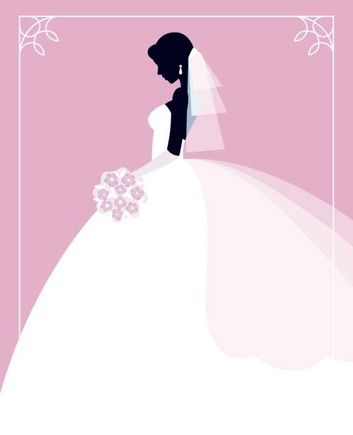 profile of the bride in a wedding dress with a bouquet of flowers in her hands - bachelorette party stock illustrations, clip art, cartoons, & icons