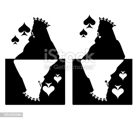 Profile of the face of the Queen of Spades in the crown. The lady presses her finger to her lips - a sign of silence. Silhouette vector illustration. Isolated on white background.