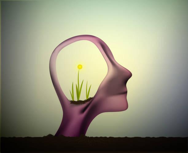 stockillustraties, clipart, cartoons en iconen met profiel van de man met de bloem plant groeit in zijn hoofd, denk positief, het zenuwstelsel, vernieuwen - fresh start yellow