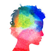 Profile of womans head with water color texture fill