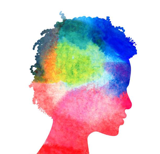 profil głowy kobiety - atmosfera wydarzenia stock illustrations