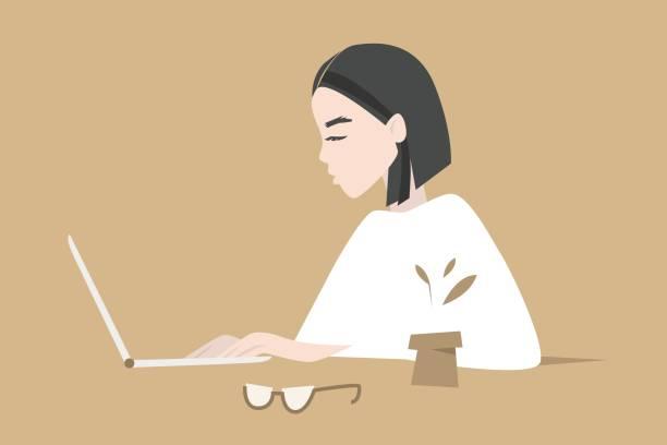 編集可能なラップトップに入力/フラットの若い女性のプロファイル ベクトル イラスト、クリップアート - フリーランス点のイラスト素材/クリップアート素材/マンガ素材/アイコン素材