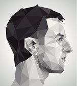 Profile of young man in origami style