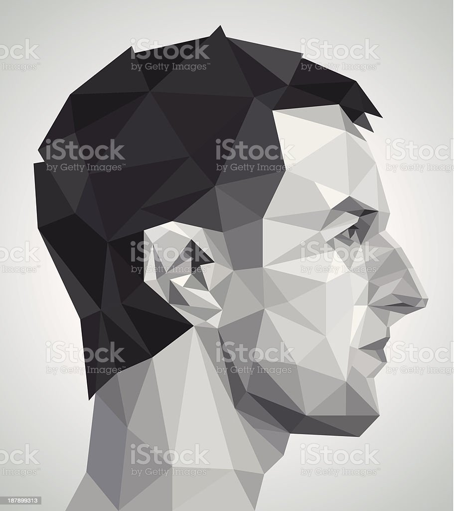 Profile of young man in origami style vector art illustration