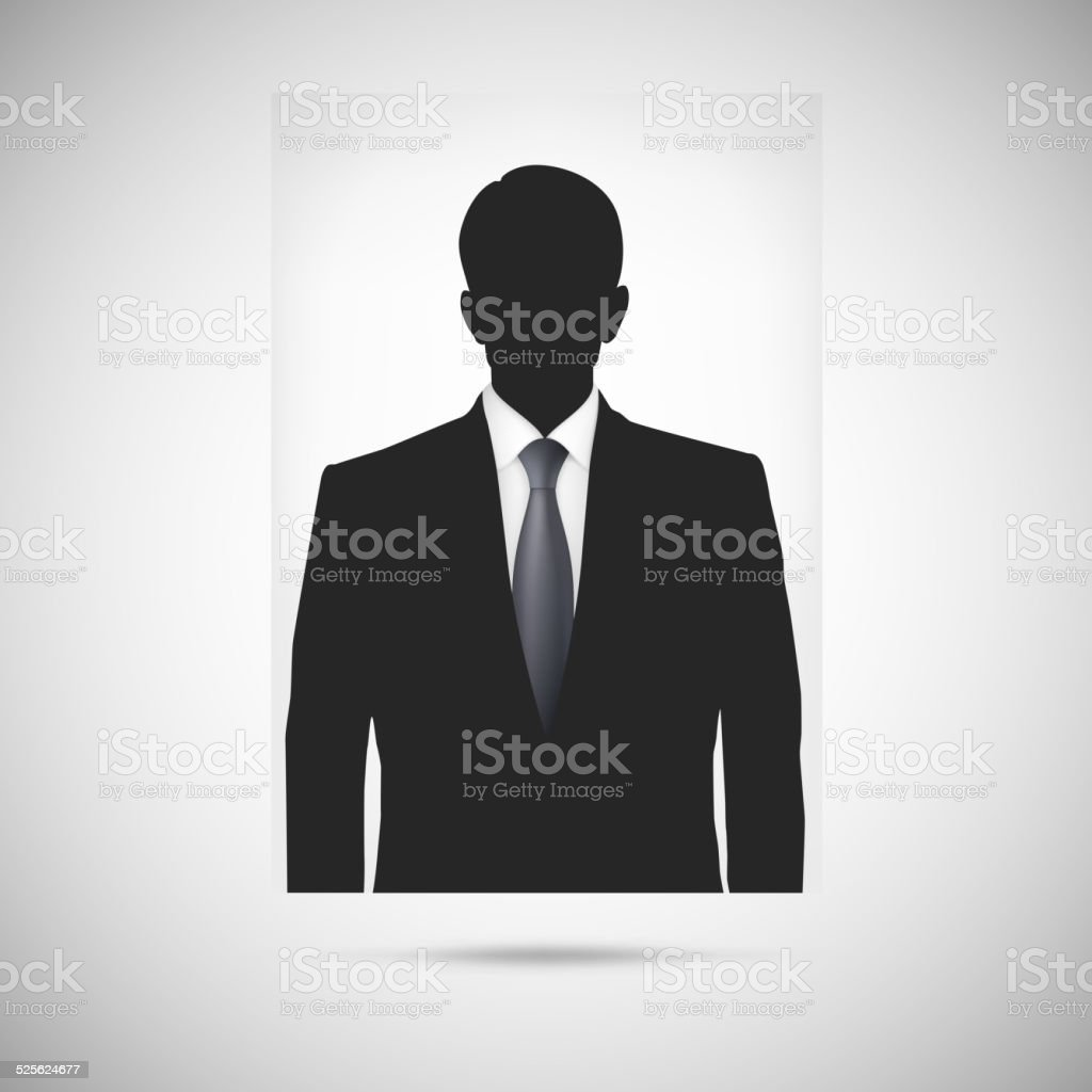 Profile picture whith tie. Unknown person silhouette vector art illustration