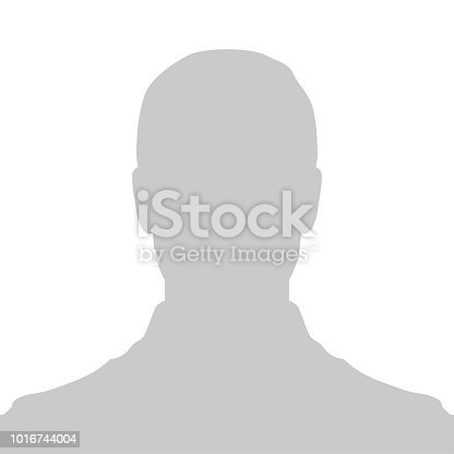 Profile Placeholder image. Gray silhouette no photo of a person on the avatar. The default pic is used for web design.