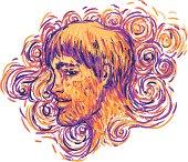 Profile portrait of a man. Vector illustration