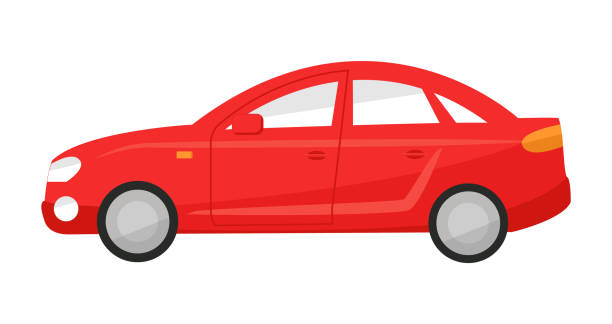 Profile red sedan car in flat style. Vector illustration of a automobile side view on a white background isolated Profile red sedan car in flat style. Vector illustration of a automobile side view on a white background isolated. hatchback stock illustrations