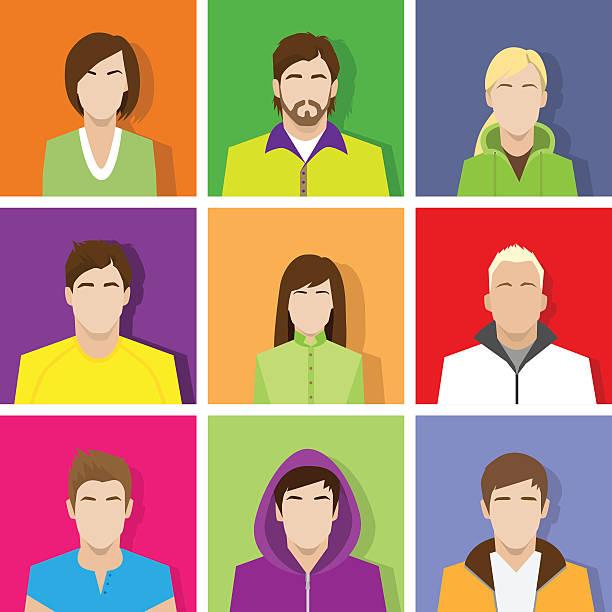 bildbanksillustrationer, clip art samt tecknat material och ikoner med profile set icon avatar male and female portrait set - profile photo