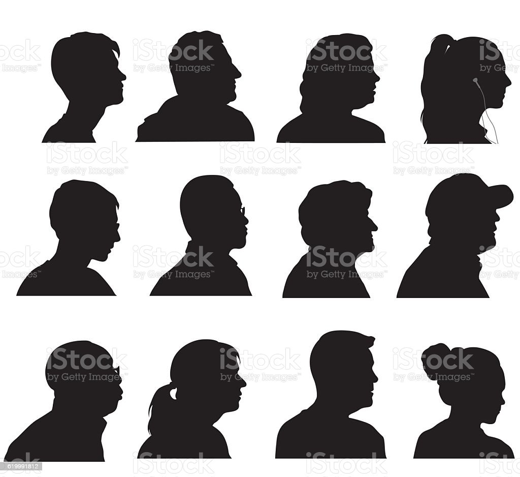 Profile Silhouette Heads vector art illustration