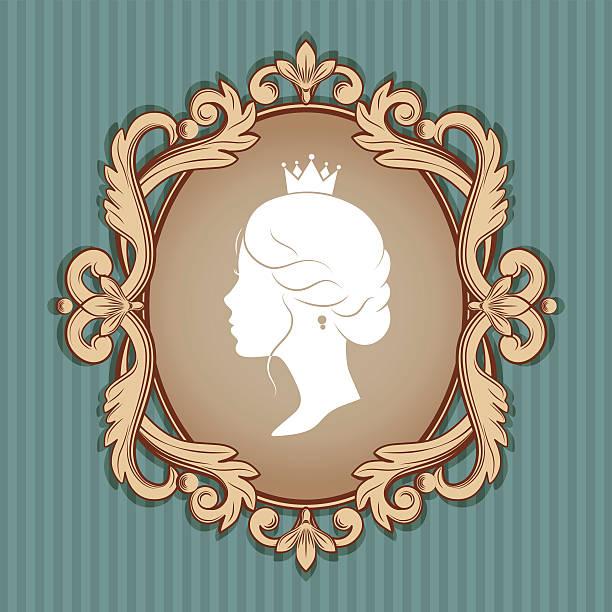 profile silhouette of a princess in frame - hochzeitsanstecker stock-grafiken, -clipart, -cartoons und -symbole