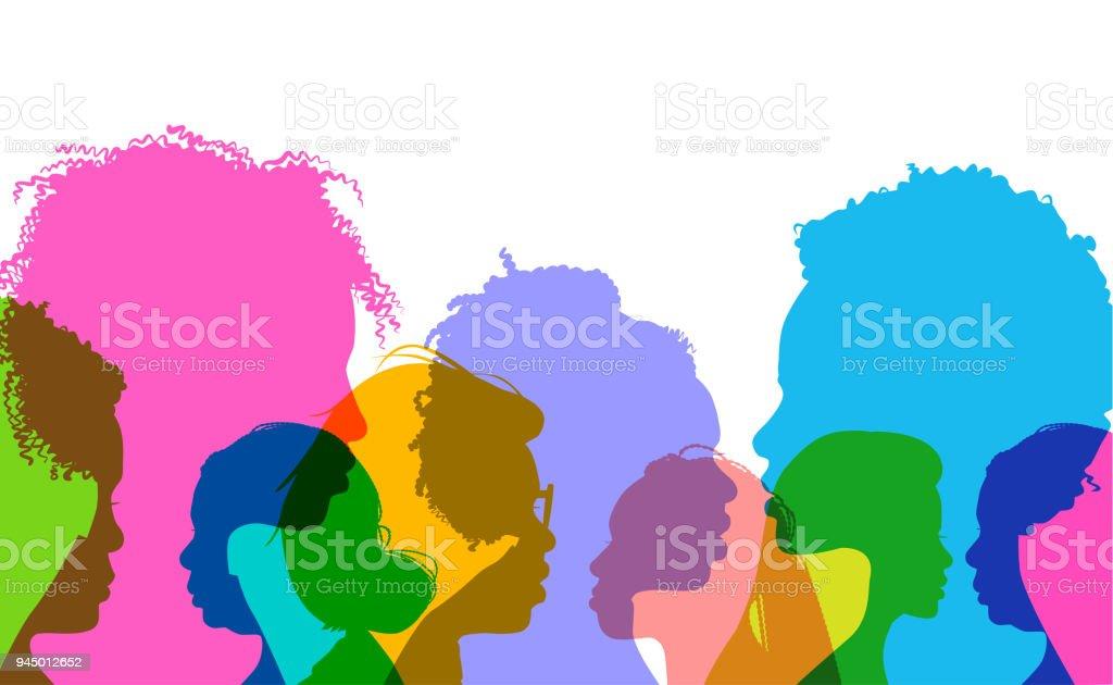 Profile silhouettes African American women vector art illustration