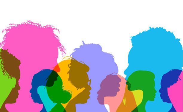 Profile silhouettes African American women Colorful overlapping silhouettes of black or African American women. in silhouette stock illustrations