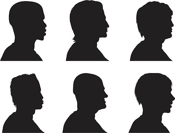 profile silhouettes - men - old man in black stock illustrations, clip art, cartoons, & icons