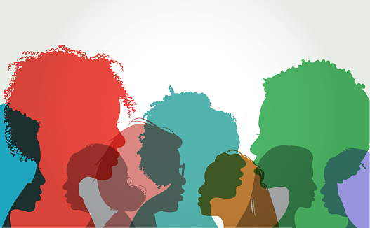 Profile silhouettes of African American Women