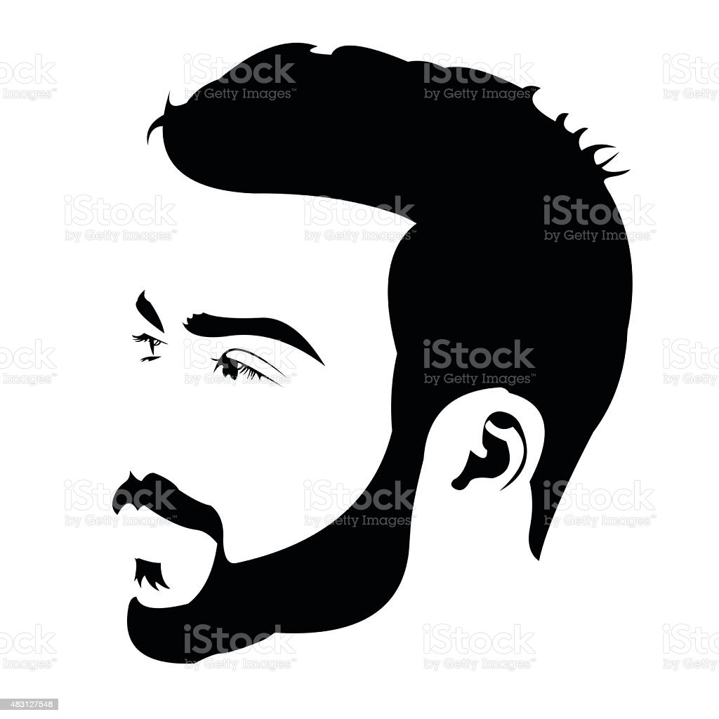 Profile view of young bearded man looking away