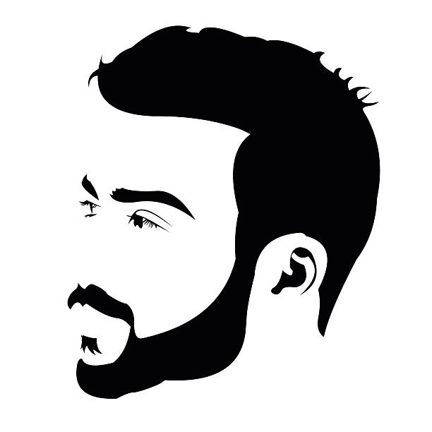 Profile view of young bearded man looking away Profile view of young bearded man looking away. Easy editable layered vector illustration. suave stock illustrations