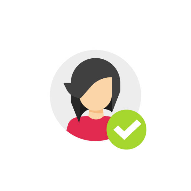 Profile with checkmark icon vector, flat cartoon user account accepted symbol with tick, approved or applied person sign, validation verified pictogram, authorized or choose member isolated clipart Profile with checkmark icon vector, flat cartoon user account accepted symbol with tick, approved or applied person sign, validation verified pictogram, authorized or choose member isolated validation stock illustrations