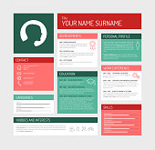 Vector minimalist cv / resume template dashboard profile - teal and red version