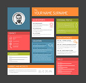 Vector minimalist cv / resume template dashboard profile - dark version
