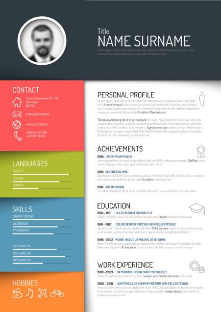 profile-dashboard-dark-vicebarevne - business cv templates stock illustrations