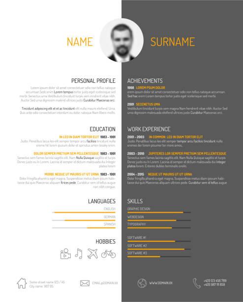 profile-dashboard-white-black-center - business cv templates stock illustrations