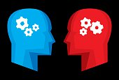 Vector illustration of red and blue stylized profiles with stylized gears in their heads.
