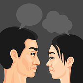 istock Profiles of a man and woman with speech bubbles 1267353719