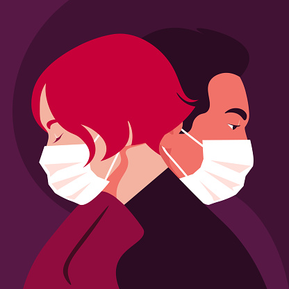 Profiles of people. Faces of woman and man wear medical masks. Date. Coronavirus. Love in the distance.
