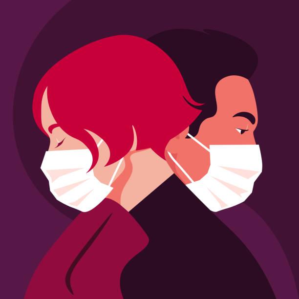 illustrazioni stock, clip art, cartoni animati e icone di tendenza di profiles of people. faces of woman and man wear medical masks. date. coronavirus. love in the distance. - divorce
