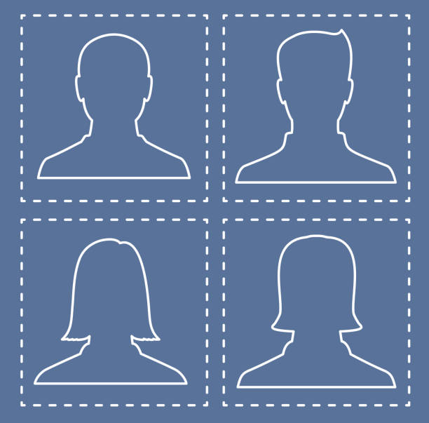 profiles of people, silhouettes in the form of lines - old man photo pictures stock illustrations, clip art, cartoons, & icons