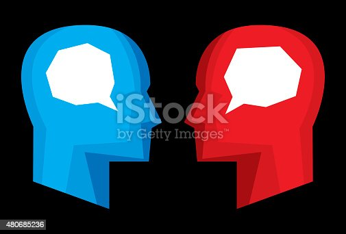Vector illustration of red and blue stylized profiles with stylized speech bubbles in their heads.