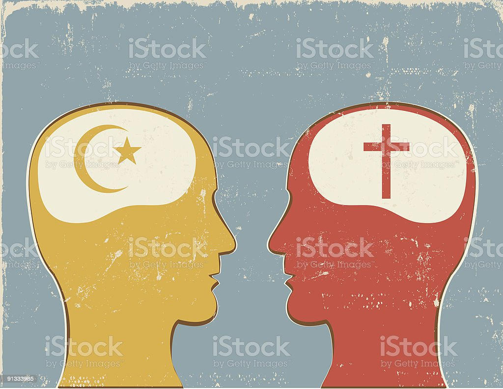 Profiles with Christian and Islamic symbols royalty-free profiles with christian and islamic symbols stock vector art & more images of american culture