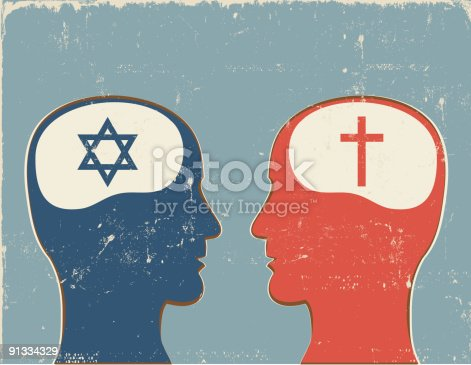 Profiles with Jewish and Christian symbols. Vector file has optional texture, global colors and layered elements. Compressed hi res jpeg included.