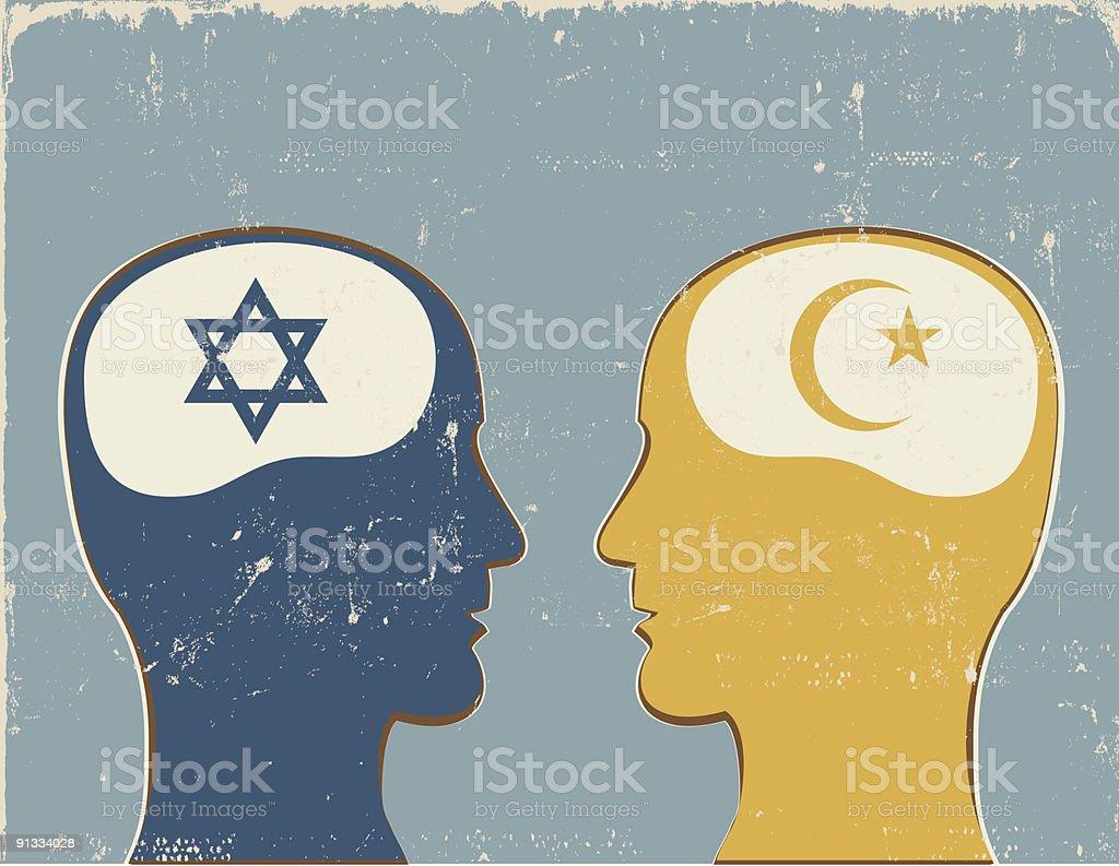 Profiles with Islamic and Jewish symbols. vector art illustration