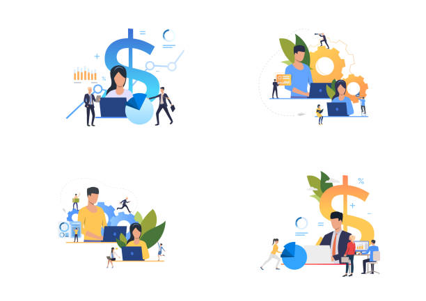 stockillustraties, clipart, cartoons en iconen met winst analyse set - financieel adviseur